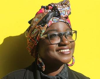 African Head Wrap African Print Headwrap African Head scarf Wax Print Turban Ankara Head Scarf African Headtie Ankara Scarf head wrap