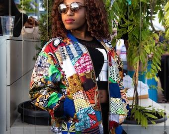 Boho Clothing Patchwork Jacket Ankara Bomber jacket 90s Bomber Wax Print Bomber Ethnic Clothing Festival Clothing Festival Jacket
