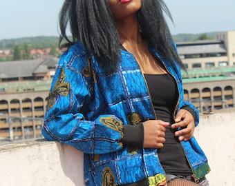 Ankara Jacket Wax Bomber Jacket Ankara Bomber Jacket Festival clothing Festival Jacket Puffer Jacket Ethnic Clothing Ethical Clothing
