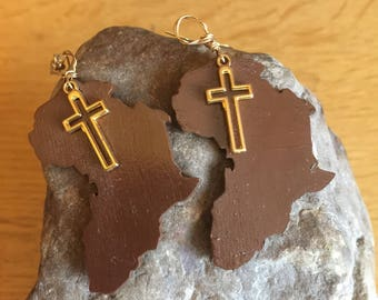 Wooden African Map Earrings With Golden Cross