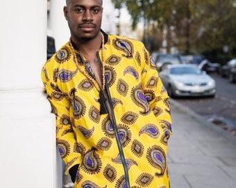 Winter Coat - Winter Jacket longline - African Clothing - Wax Bomber - Unisex Coat - Festival Jacket - Festival Clothing - Parka - Patterned