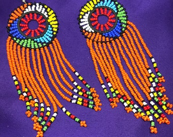 Masai Earrings African Earrings Beaded Earrings Boho Earrings Masai Jewellery Zulu Earrings Ethnic Jewellery Kenyan Earrings Aztec Earrings