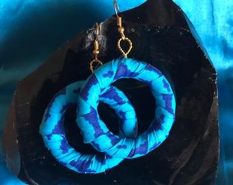 Hoop Earrings African Print Hooped Earrings With Blue Ankara Fabric sustainable jewellery Zero Waste Jewellery Recycled Earrings