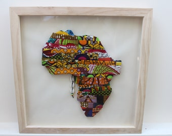 Handmade Patchwork African Map African Print Art African Artwork African Painting Handmade Art Wall Hanging Christmas Gift African Decor