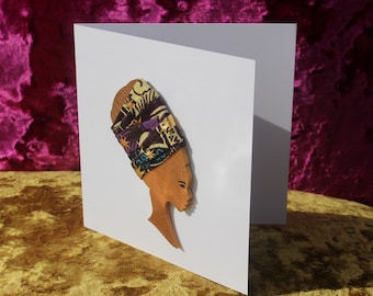 African Card Wedding Card Birthday Card Mr and Mrs Card African Print Card Wedding Cards Engagement Card Nefertiti Card Wedding Invitations