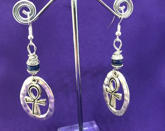 Ankh Earrings Silver Earrings Amethyst Earrings