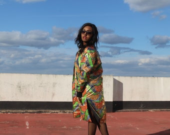 African Print Trench Coat with Gold Ankara Print