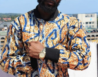 African Print Jacket Bomber in Wax Bomber Jacket Mens Ankara Jacket