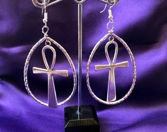 Statement Earrings Silver Ankh Earrings African Jewellery