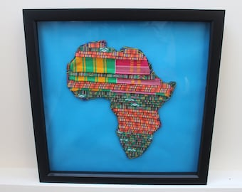 Handmade Patchwork Africa Map African Print Art African Artwork African Painting Handmade Art Wall Hanging Christmas Gift African Decor