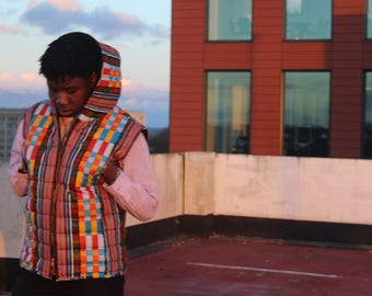 African Mens Fashion - African Body Warmer- African Print Jacket - African Clothing - African Gilet - Padded Jacket - Festival Clothing