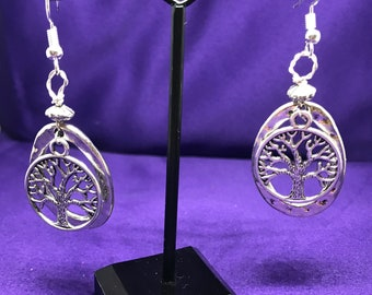 Tree of Life Earrings Tree of Life Hoops Boho Earrings Bohemian Earrings Statement Earrings Silver Ankh Earrings African Jewellery