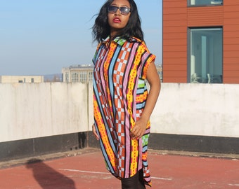 Kente Dress Ankara Shirt Dress African Shirt Dress Bohemian Dress