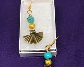 Crystal Earrings Turqoise Earrings Silver Earrings Crystal Jewellery Healing Crystal Earrings Turqoise Jewellery
