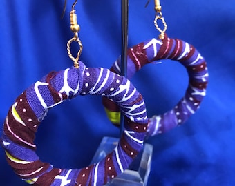 African Print Hooped Earrings With Purple Ankara Fabric