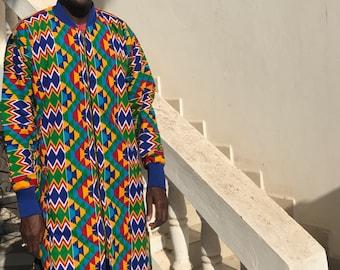 African Coat Kente African Print Trench Coat in Orange Ankara Print Ankara Coat African Coat Festival Coat Kente Clothing