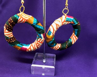 African Print Hooped Earrings With Blue Ankara Fabric