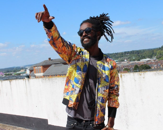 Featured listing image: African Print Jacket Bomber in Wax Bomber Jacket Mens Ankara Jacket