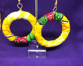Rasta Earrings Hoop Earrings African Print Hooped Earrings With Yellow Ankara Fabric Zero Waste Earrings Sustainable Earrings