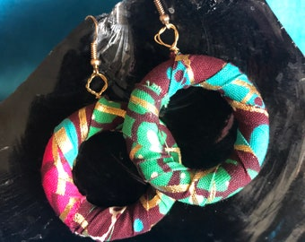 African Print Hooped Earrings With Blue Ankara Fabric sustainable jewellery Zero Waste Jewellery Recycled Earrings