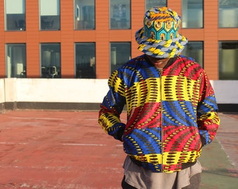 90s Bomber jacket Mens African Clothing Ankara Jacket In Wax Mens Festival Jacket African Mens Fashion Festival clothing Ankara Bomber
