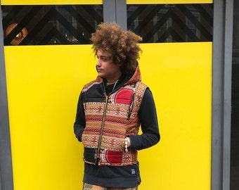 African Body Warmer Dashiki Jacket African Print Jacket African Vest African Clothing African Gilet Padded Jacket Festival Clothing