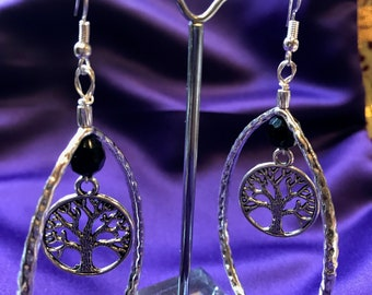 Tree of Life Hoops Tree of Life Earrings Boho Earrings Boho Hoops Statement Earrings Silver Ankh Earrings African Jewellery