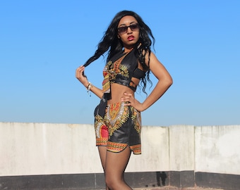 African Bikini Set African Matching Outfit Dashiki Shorts Dashiki Booty Shorts Dashiki bikini Dashiki Bra Top