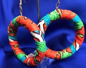 African Print Hooped Earrings With Orange Ankara Fabric