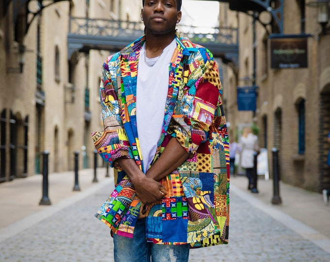 Featured listing image: African Shirt Patchwork Shirt Ankara Shirt Mens African Fashion Wax Print Shirt African Clothing