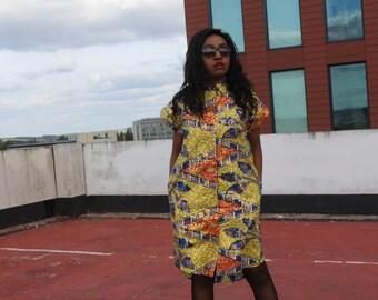 African Shirt Dress Gold Dress Ankara Shirt Dress Boho Style Dress