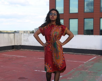 Dashiki Dress Ankara Shirt Dress African Dress Dashiki Shirt Dress Boho Clothing