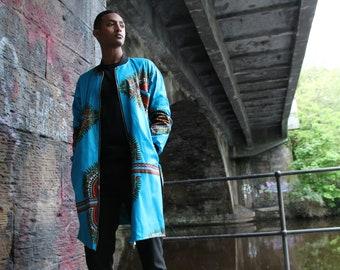 Dashiki Coat African Print Trench Coat in Blue Ankara Print Ankara Coat African Coat Festival Coat