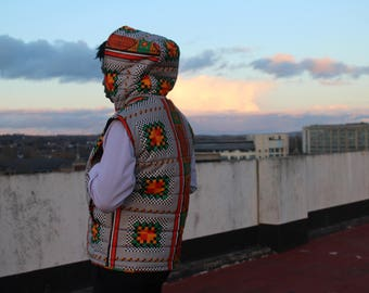 Mens African Fashion - Festival Fashion - African Clothing mens - African Print Jacket - Festival Clothing - Padded Vest - Body Warmer Mens