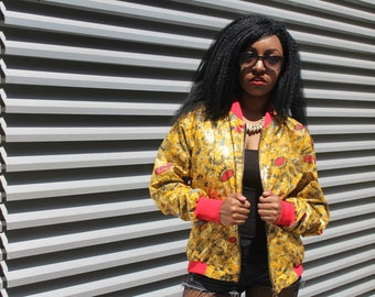 African Clothing 90s Bomber Jacket African Print Jacket African Fashion Womens Ankara jacket Festival Clothing Sequinned Jacket Puffer