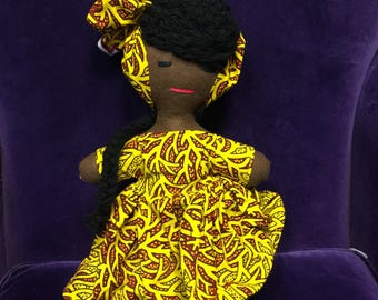 African Doll - Rag Doll - Multicultural Doll - Black Doll - Handmade Toy - Cultural Toys - African Orniment - Stocking Filler - Print Toy