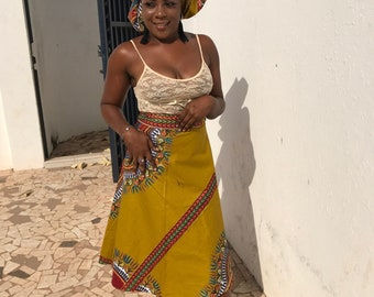African Wrap Skirt Boho Skirt Ankara Wrap Skirt Wax Print Skirt Festival Skirt African Skirt Summer Skirt African Print Skirt