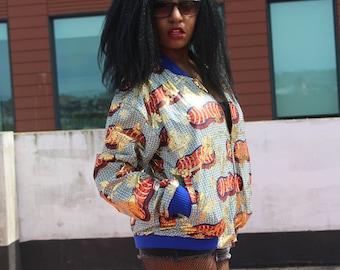 Wax Bomber Jacket Batik Clothing African Print Jacket African Fashion Womens African Clothing Festival Clothing Sequinned Jacket Puffer