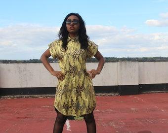 Ankara Dress Gold Dress Ankara Shirt Dress African Dress
