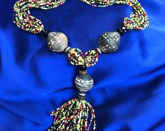 African Jewellery African Statement Necklace Hippie African Beaded Necklace Masai Necklace Statement jewellery Beaded Jewellery Beadwork