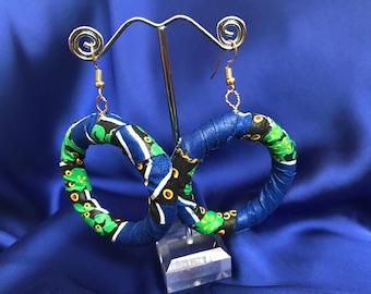 African Fabric Earrings African Print Earrings In Wax print Earrings Boho Festival Earrings Ankara Jewellery In African Fabric Hoops