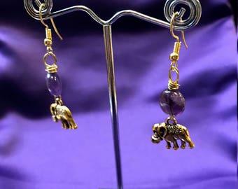 Elephant Earrings - Crystal Earrings - Turquoise Earrings - African Jewellery - Amethyst Earrings - Rose Quartz Earrings - African Earrings