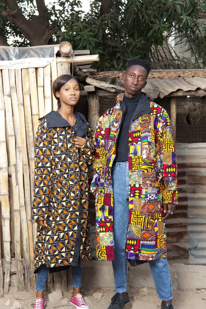 Festival Coat  African Coat In Electric Red  Made In Africa Patchwork Parka African Summer Parka