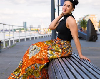 African Skirt - African Full Length Skirt - African Clothing - Gold Skirt - Festival Skirt - Ankara Skirt - Festival Dress - African Wrap