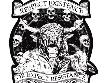 """Vegan Sticker """"Respect Existence or Expect Resistance"""" By Anticarnist Vegan Gifts, Vegan Stickers"""