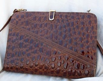 Leather bag in crocodile print-leather bag, 1980s crocodile print