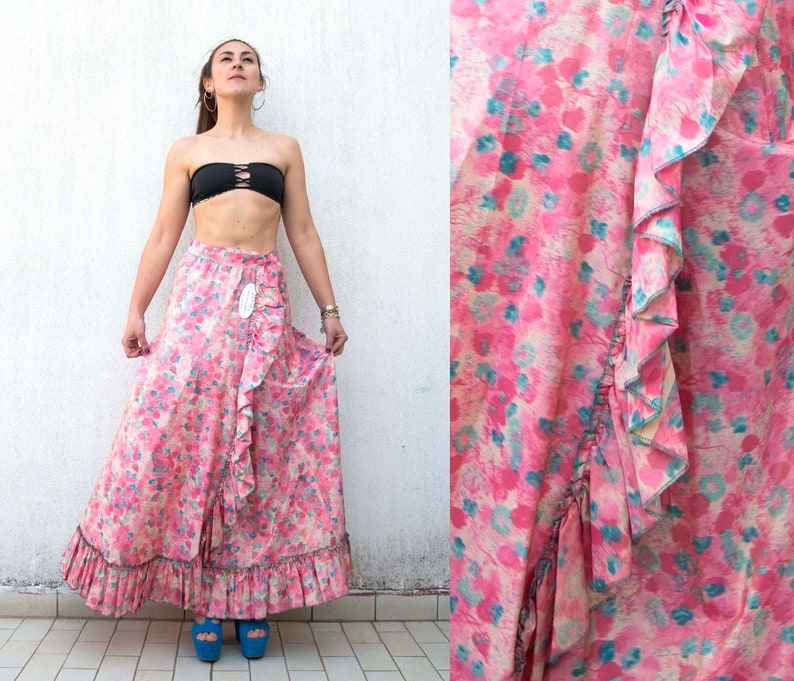 NOT USED Vintage skirt-vintage satin skirt-Made in Italy-vintage stock-vintage skirt-new with tag-Silk satin