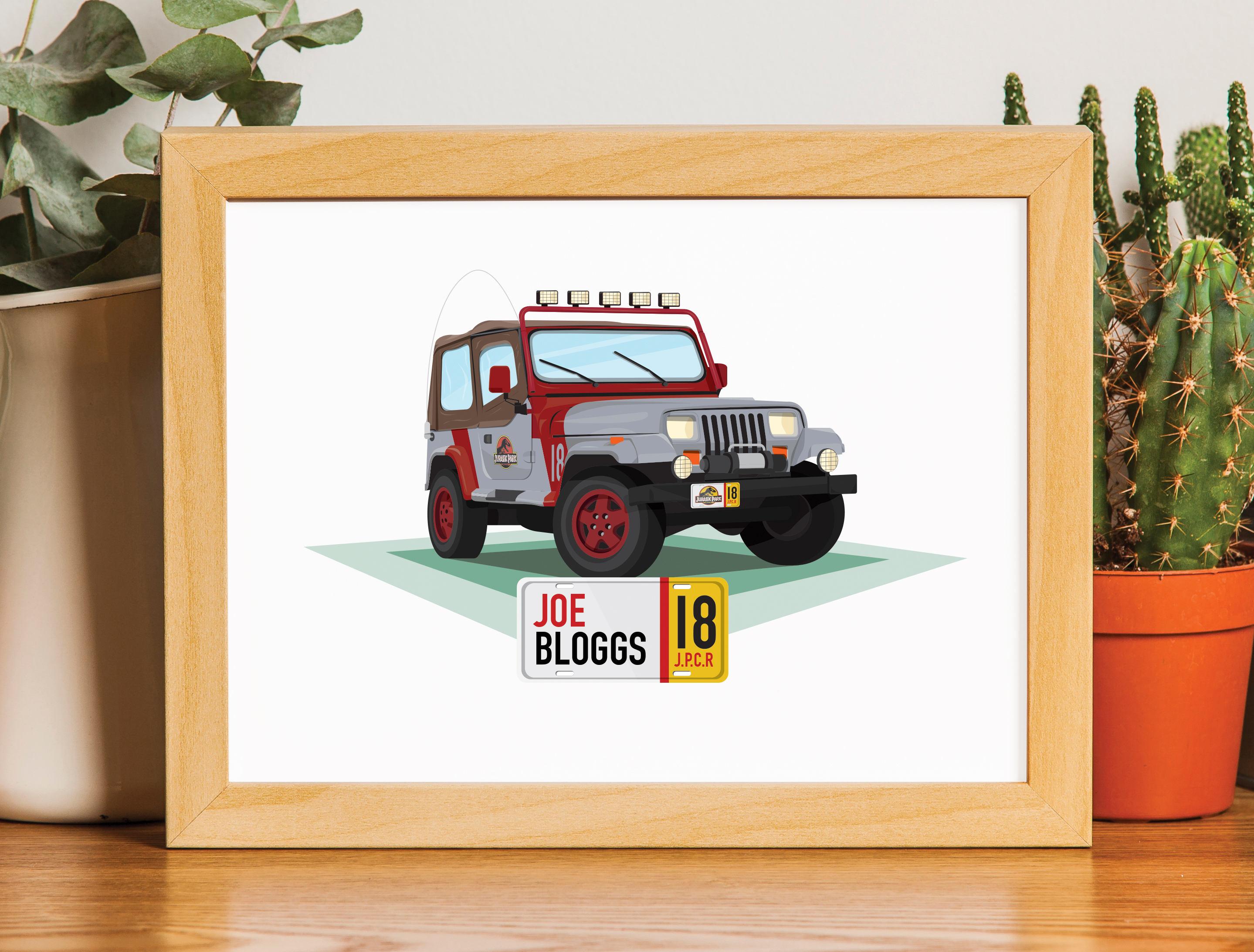 Personalisierte Jurassic Park Jeep Druck | Etsy