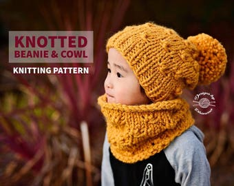 Knotted Slouch Beanie & Cowl PATTERN | Cowl PATTERN | Beanie Pattern | Knitting Pattern | Instant Download Pattern | Knit Pattern