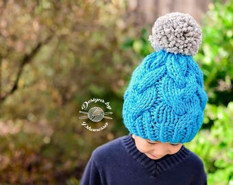 Knit CHUNKY Erin Braided Beanie PATTERN | Knit Pattern | Slouch Hat | Knit Cables | Cabled Beanie | Knit Hat | Instant Download